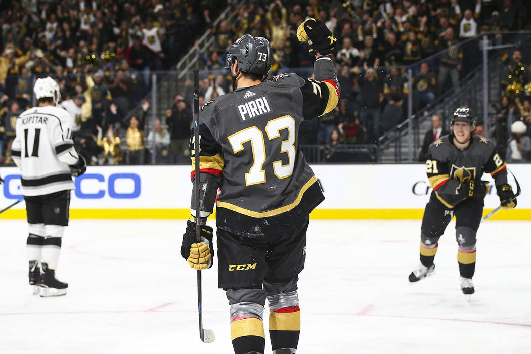Vegas Golden Knights center Brandon Pirri (73) celebrates his goal against the Los Angeles Kings during the third period of an NHL hockey game at T-Mobile Arena in Las Vegas on Tuesday, Jan. 1, 20 ...