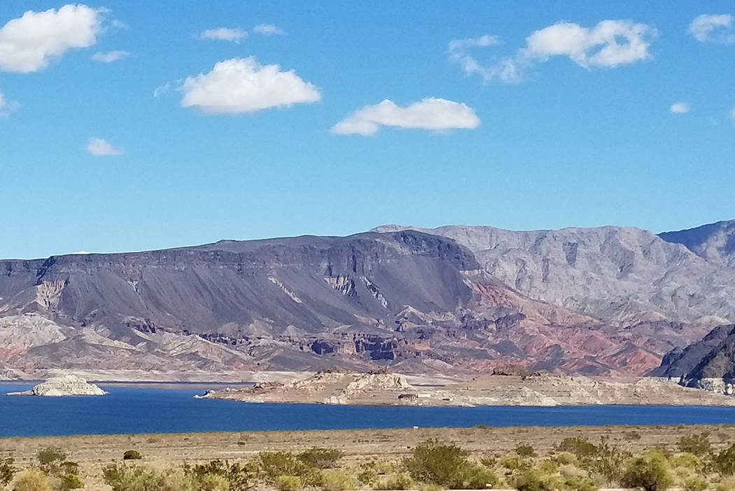 Fortification Hill as seen from a shoreline picnic table across Lake Mead. (Natalie Burt)