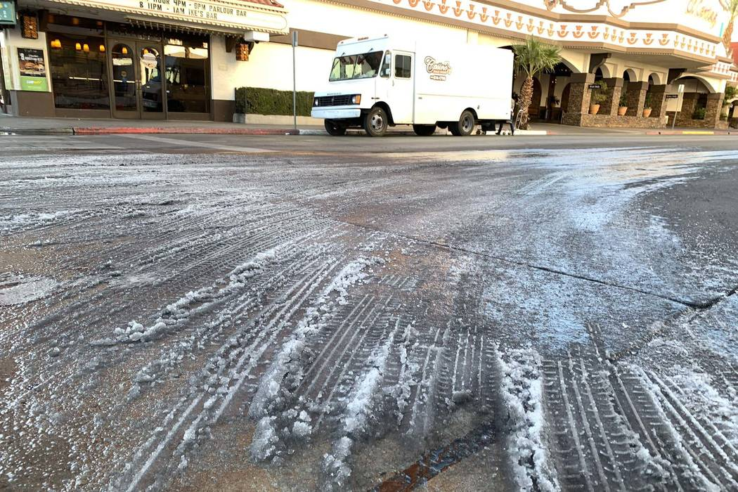 Ice forms on the street in front of the El Cortez on Fremont Street in downtown Las Vegas, Wednesday, Jan. 2, 2019. The overnight low in Las Vegas was 28 degrees. (K.M. Cannon/Las Vegas Review-Jou ...