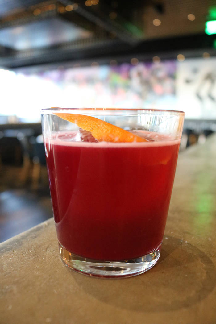 Momofuku's Bok to the Beet cocktail uses beets and bok choy. (Janna Karel Las Vegas Review-Journal)