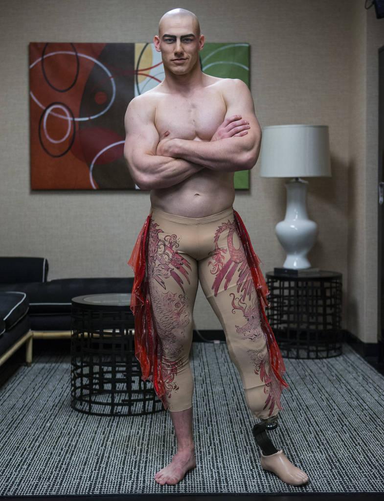 "AJ Montgomery, an acrobat in ""Le Reve,"" poses before a show at Wynn Las Vegas in Las Vegas on Tuesday, Dec. 18, 2018. Chase Stevens Las Vegas Review-Journal @csstevensphoto"