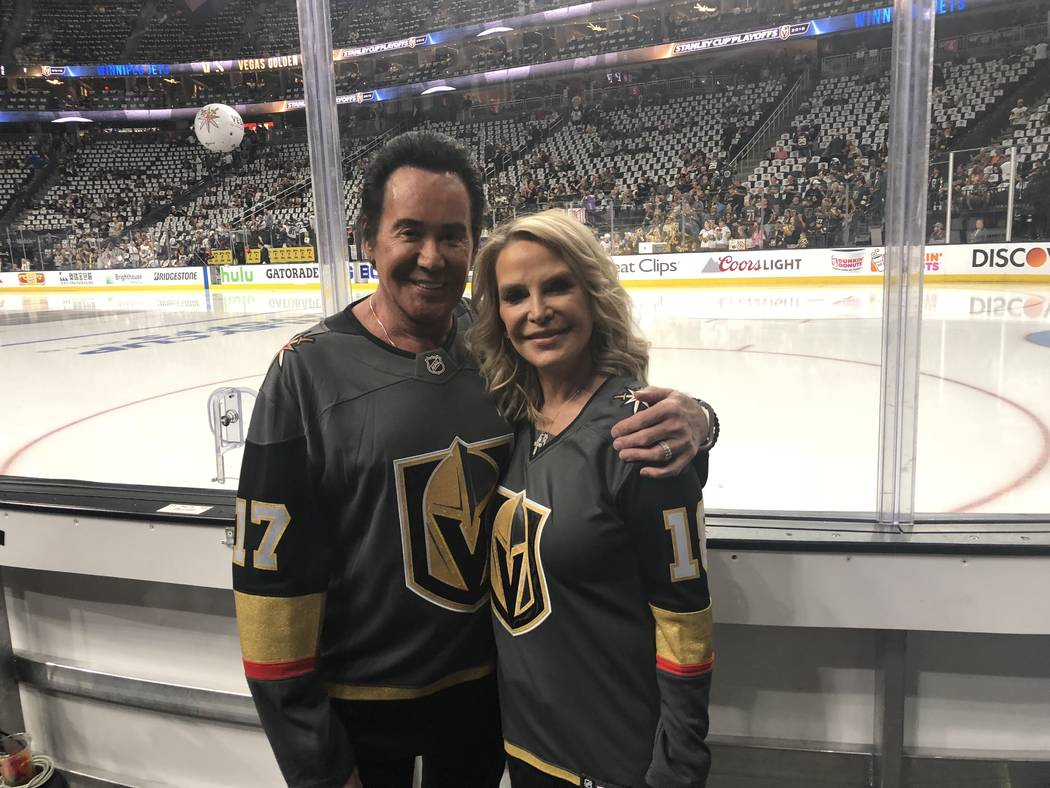 Wayne Newton and his wife, Kathleen, are shown at T-Mobile Arena prior to the Vegas Golden Knights-Winnipeg Jets Western Conference Finals Stanley Cup Playoff game. (John Katsilometes/Las Vegas Re ...