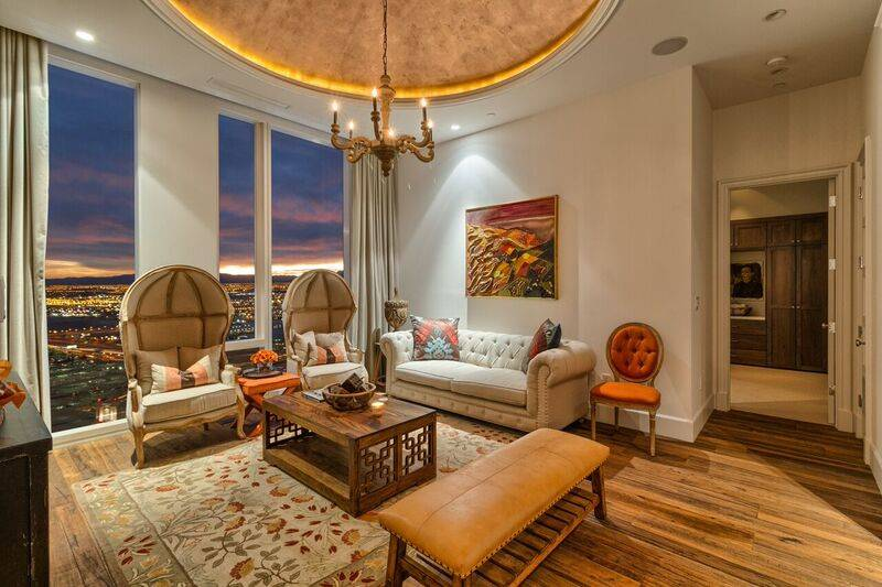 Penthouse 4702 overlooks the Strip from the Waldorf's top floor. (Award Realty)