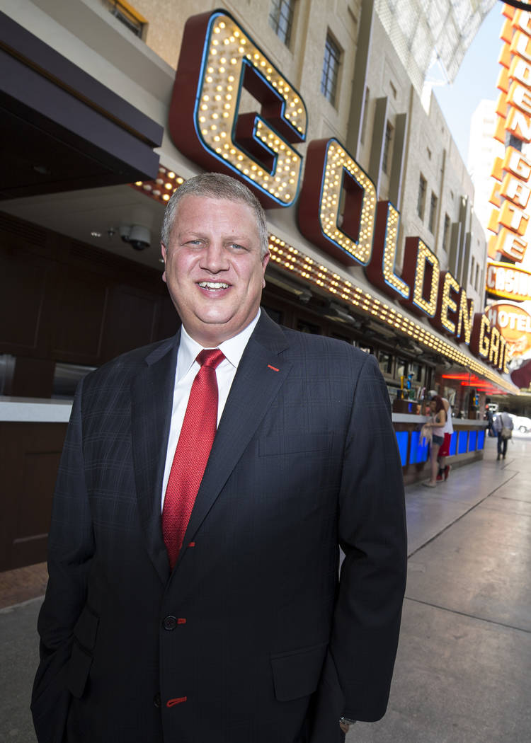 Golden Gate CEO Derek Stevens in front of his Fremont Street property following a ribbon cutting ceremony to officially unveil the expansion and renovations at the Golden Gate hotel-casino on Frid ...