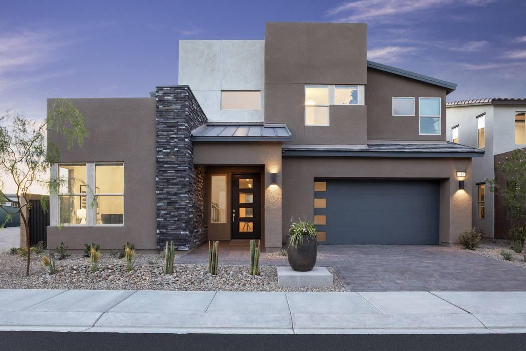 Corterra by Pardee Homes is one of several new modern-design neighborhoods opened by the longtime valley homebuilder. Shown is Corterra Plan One model home. (Pardee Homes)
