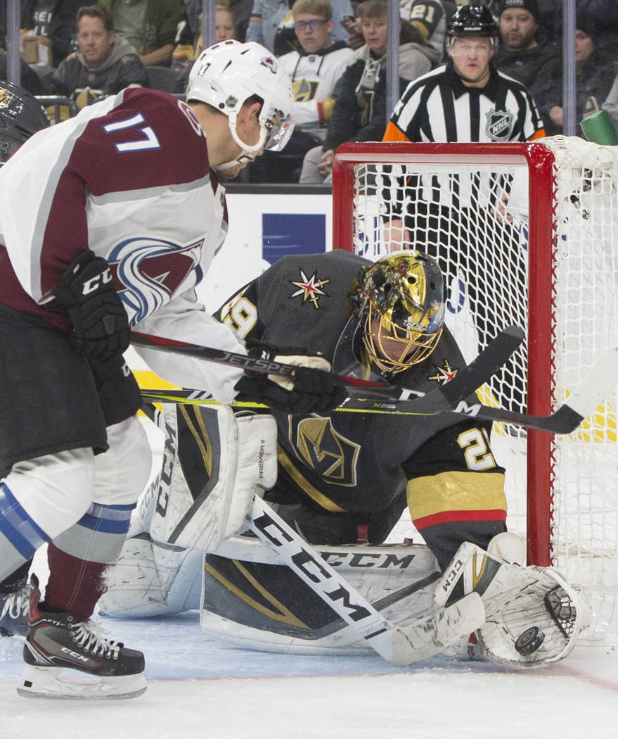 d5e2f15d0 Golden Knights goaltender Marc-Andre Fleury (29) makes a save against  Colorado Avalanche