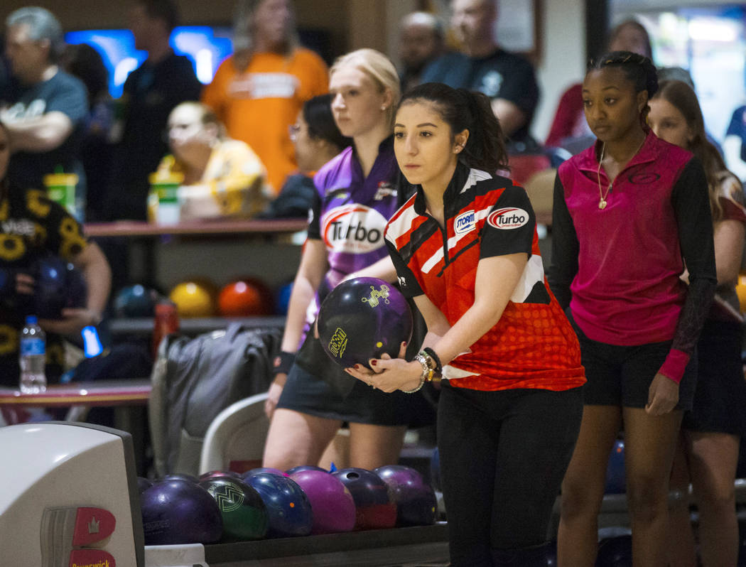 Julia Bond, a two-time Team USA member and four-time member of Junior Team USA, bowls during a practice day ahead of the United States Bowling Congress Team USA trials at Gold Coast in Las Vegas o ...