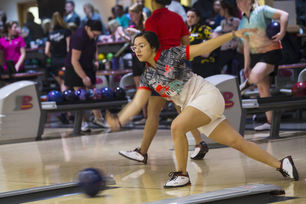 Leah Glazer of Las Vegas bowls during a practice day ahead of the United States Bowling Congress Team USA trials at Gold Coast in Las Vegas on Wednesday, Jan. 2, 2019. Glazer, who bowled at Bishop ...