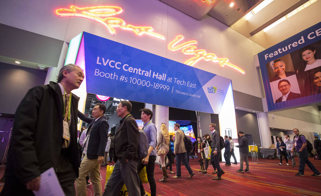 Attendees walk through the Central Hall at CES in Las Vegas on Friday, Jan. 12, 2018. Richard Brian Las Vegas Review-Journal @vegasphotograph