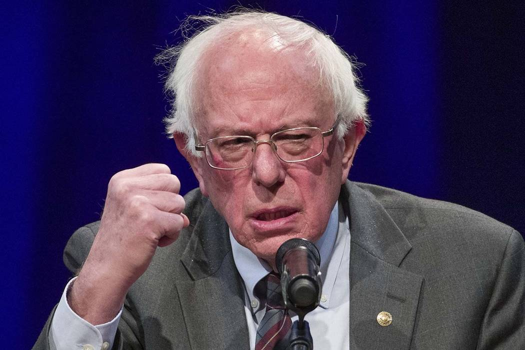 In this Nov. 27, 2018, file photo, Sen. Bernie Sanders, I-Vt., speaks about his new book, 'Where We Go From Here: Two Years in the Resistance', at a George Washington University/Politics and Prose ...