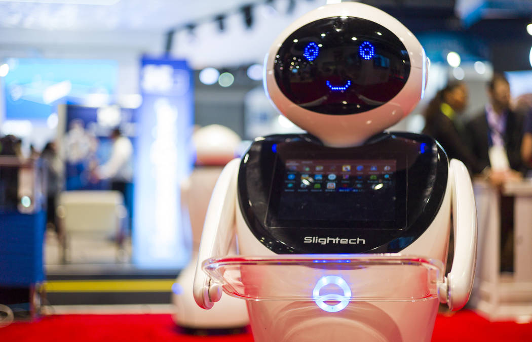 A robot from Slightech during CES at the Las Vegas Convention Center in Las Vegas on Friday, Jan. 12, 2018. Chase Stevens Las Vegas Review-Journal @csstevensphoto