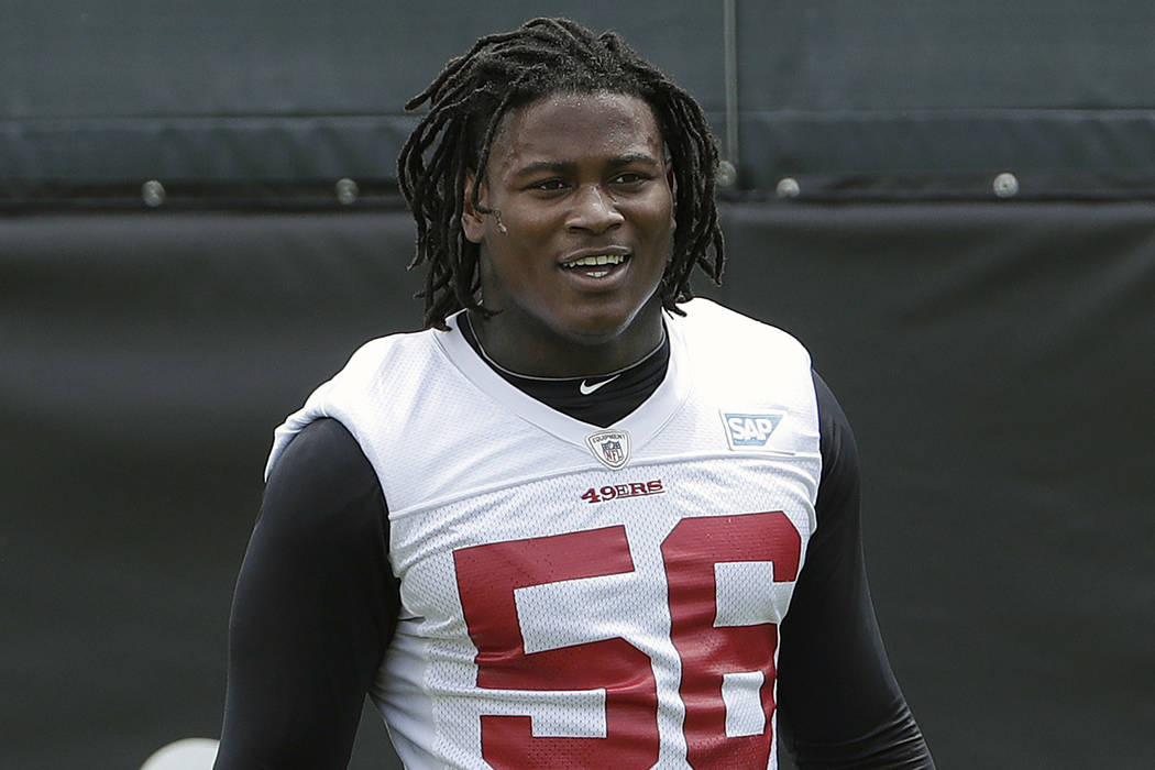 In this May 30, 2018, file photo, San Francisco 49ers linebacker Reuben Foster walks on the field during a practice at the team's NFL football training facility in Santa Clara, Calif. (Jeff Chiu/A ...