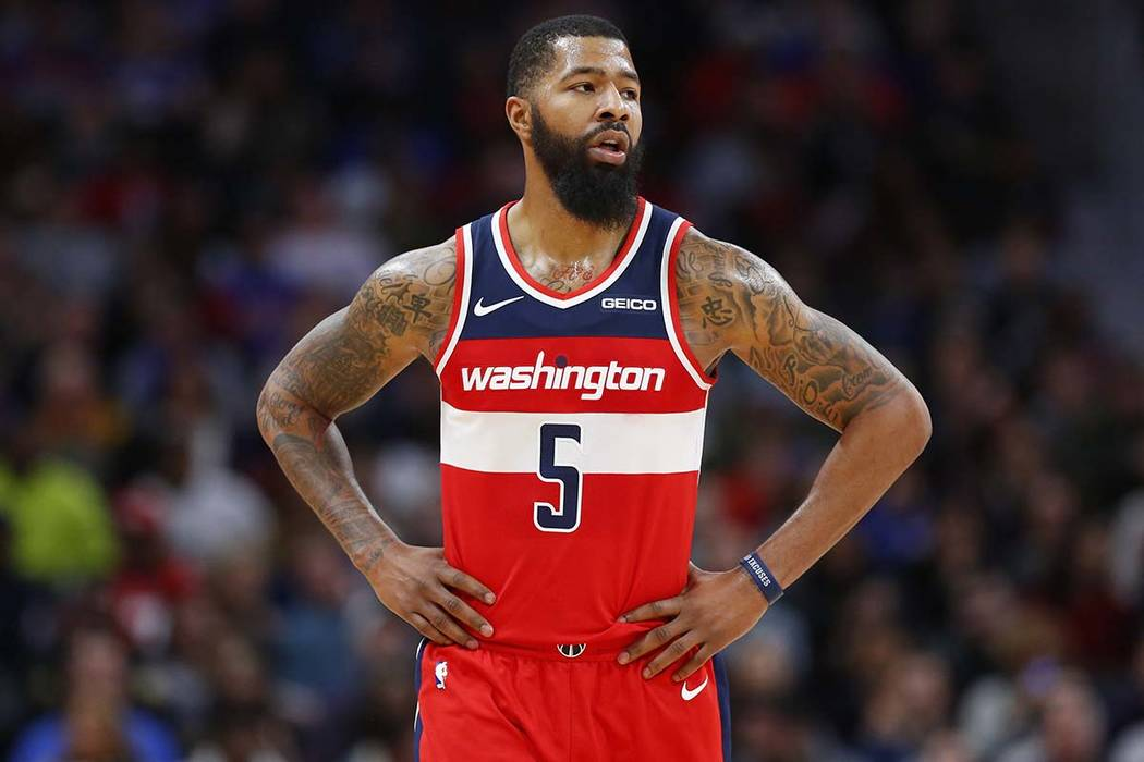In this Dec. 26, 2018, file photo, Washington Wizards forward Markieff Morris (5) looks on during the second half of the game against the Detroit Pistons, in Detroit. (Duane Burleson/AP file)