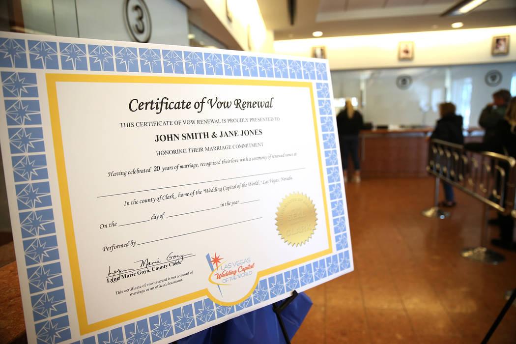 Married Couples Renewing Vows In Las Vegas Can Get Certificate Las