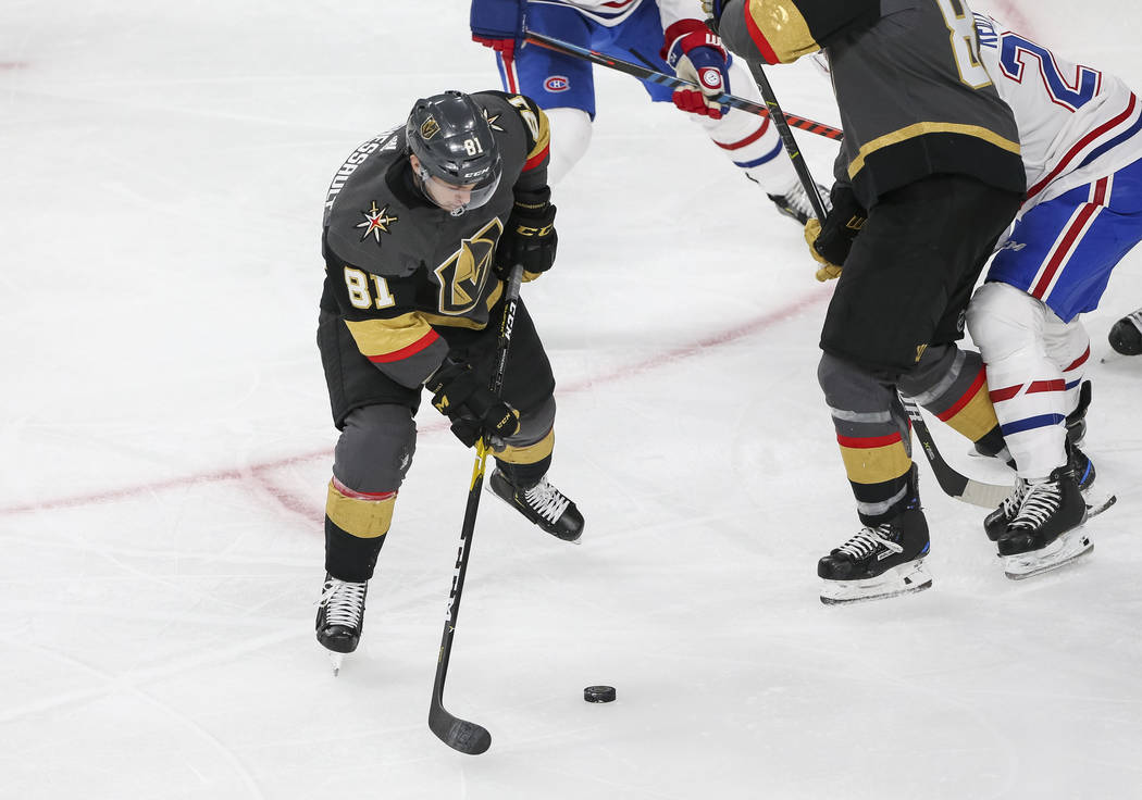 Vegas Golden Knights center Jonathan Marchessault (81) shoots for a goal during the second period of an NHL hockey game against the Montreal Canadiens at T-Mobile Arena in Las Vegas on Saturday, D ...