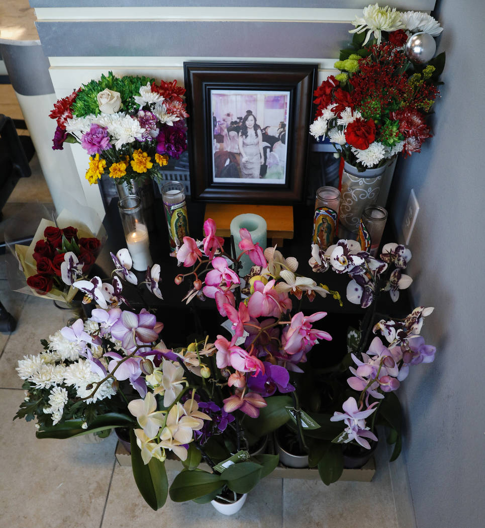 A memorial is on display for the passing of manicurist Ngoc Nhu Nguyen at Crystal Nails and Spa in Las Vegas, Wednesday, Jan. 2, 2019. Caroline Brehman/Las Vegas Review-Journal