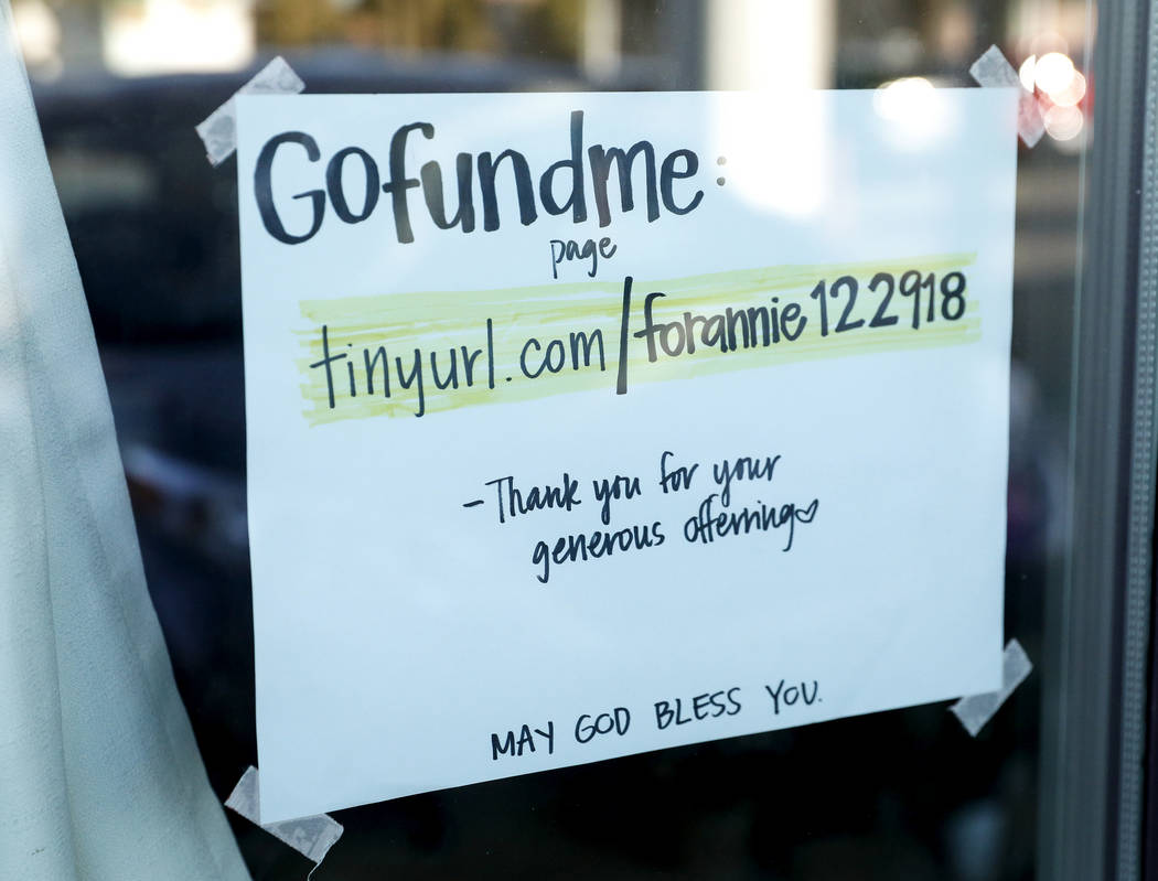 A sign on Wednesday, Jan. 2, 2019, shows that donations are being accepted after the death of manicurist Ngoc Nguyen at Crystal Nails and Spa in Las Vegas. Caroline Brehman/Las Vegas Review-Journal