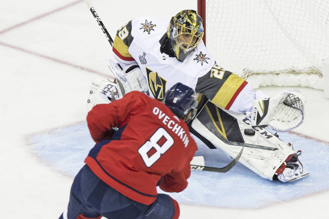 bc95db48bac Golden Knights goaltender Marc-Andre Fleury (29) makes a save against  Capitals left