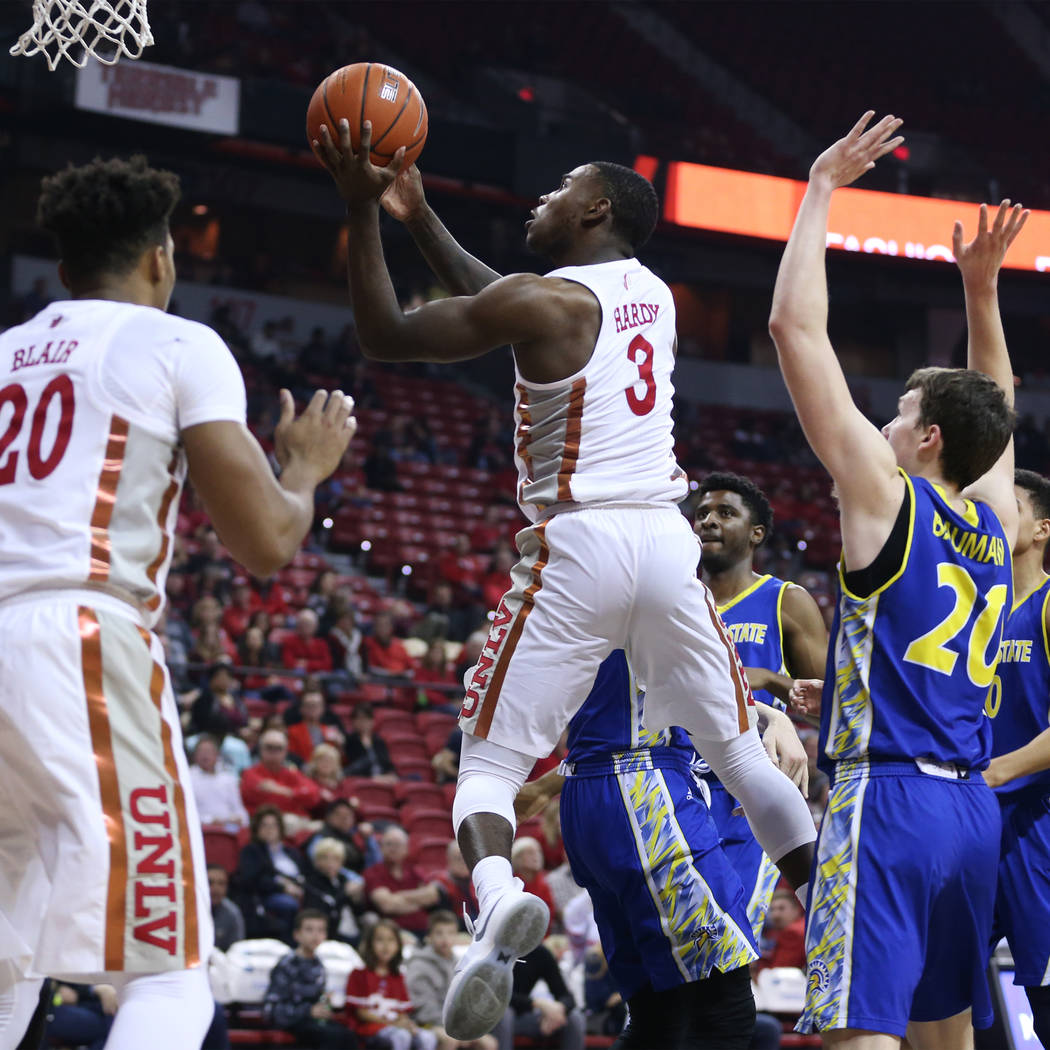 UNLV Rebels guard Amauri Hardy (3) goes up for a shot against the San Jose State Spartans in the first half of the basketball game at the Thomas & Mack Center in Las Vegas, Saturday, Jan. 19, ...