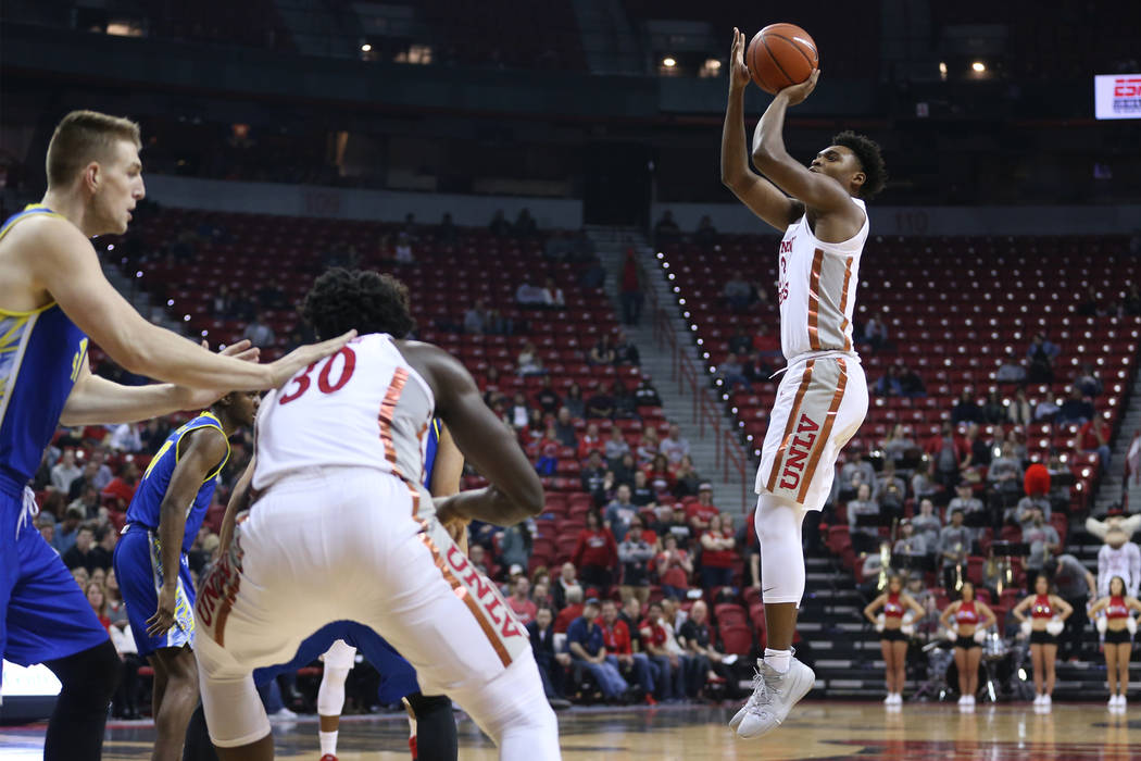 UNLV Rebels guard Bryce Hamilton (13) takes a shot against San Jose State Spartans in the first half of the basketball game at the Thomas & Mack Center in Las Vegas, Saturday, Jan. 19, 2019. E ...