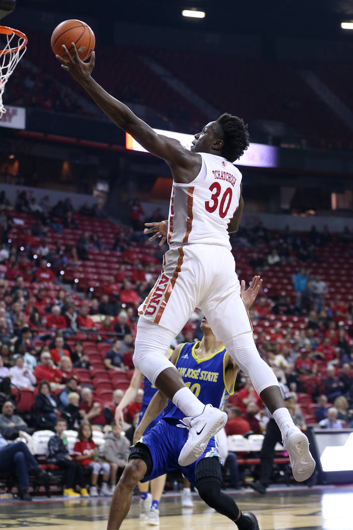 UNLV Rebels forward Jonathan Tchamwa Tchatchoua (30) goes up for a lay up against San Jose State Spartans in the first half of the basketball game at the Thomas & Mack Center in Las Vegas, Sat ...