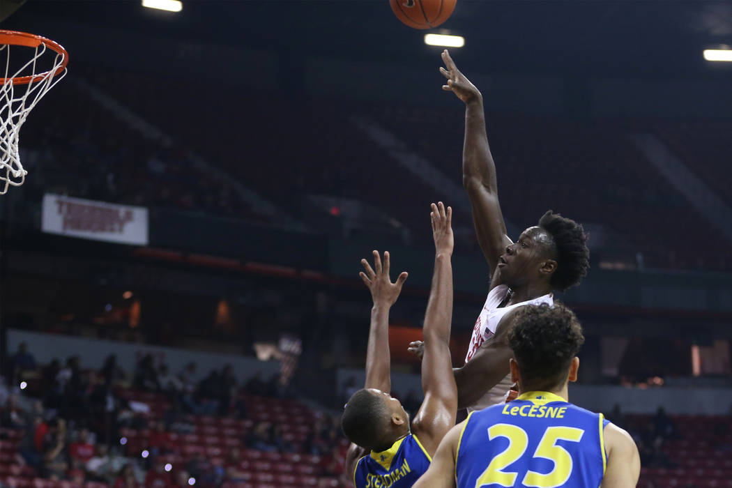 UNLV Rebels forward Jonathan Tchamwa Tchatchoua (30) takes a shot against San Jose State Spartans in the first half of the basketball game at the Thomas & Mack Center in Las Vegas, Saturday, J ...
