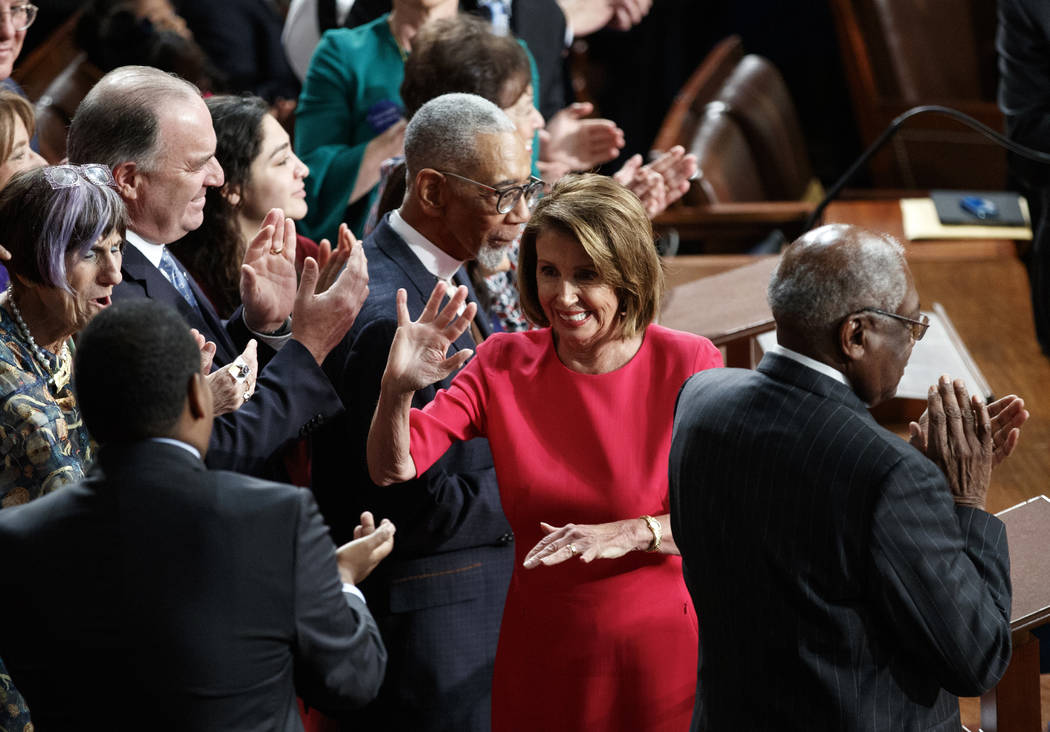 Nancy Pelosi of California reacts to being elected House Speaker at the Capitol in Washington, Thursday, Jan. 3, 2019. (AP Photo/Carolyn Kaster)