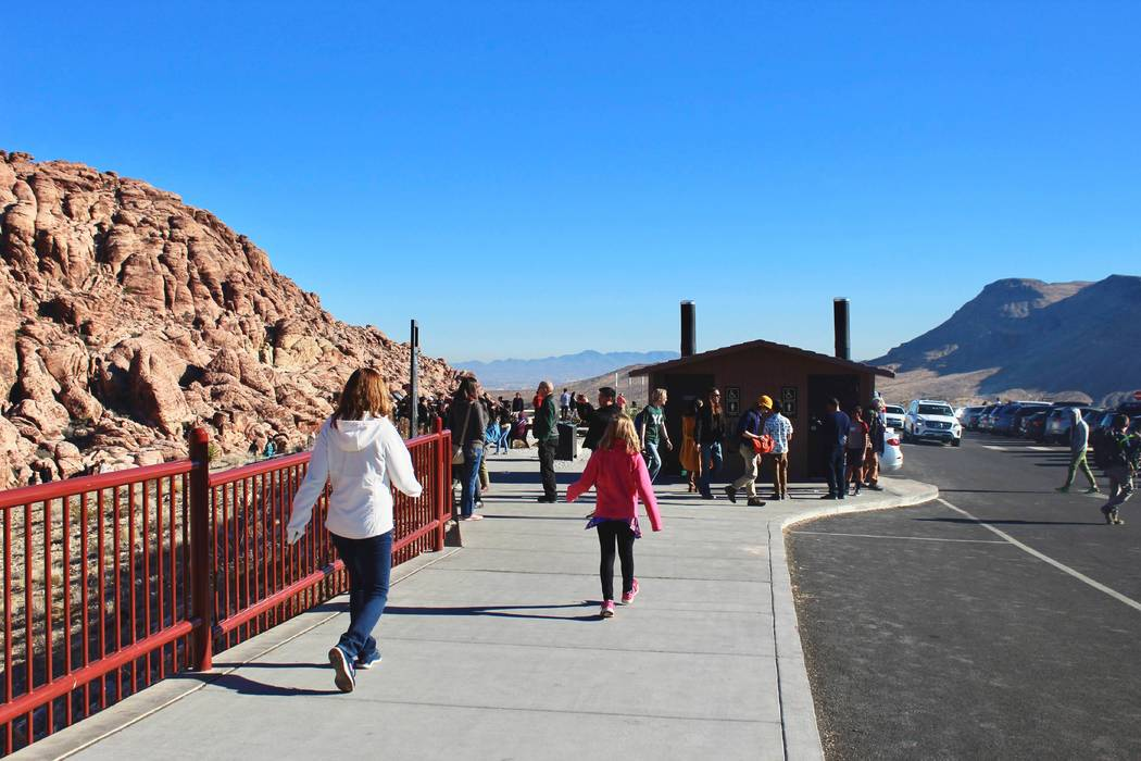 Visitors gather at Red Rock Canyon National Conservation Area on Thursday, Jan. 3, 2019, while more than 6,000 Bureau of Land Management employees are furloughed because of the partial federal gov ...
