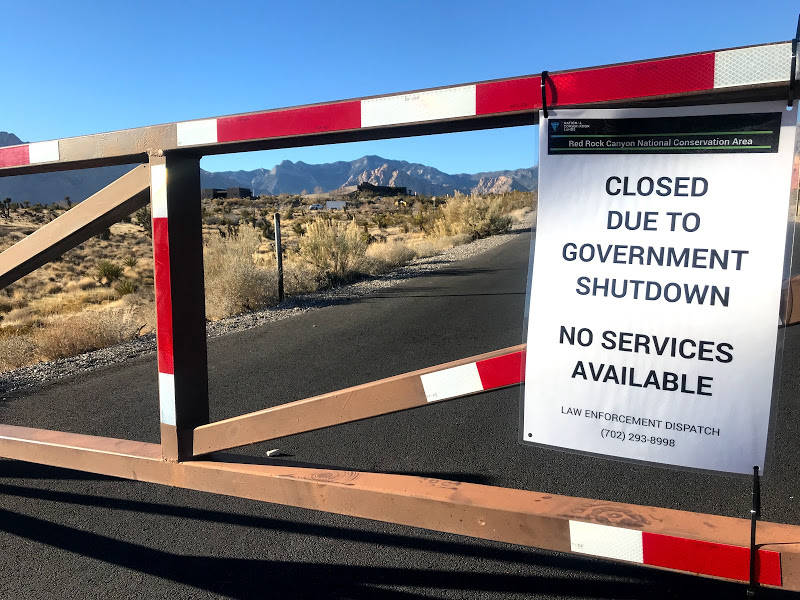 The road leading to the Red Rock Canyon Visitor Center remains closed on Thursday, Jan. 3, 2019, while more than 6,000 Bureau of Land Management employees are furloughed because of the partial fed ...