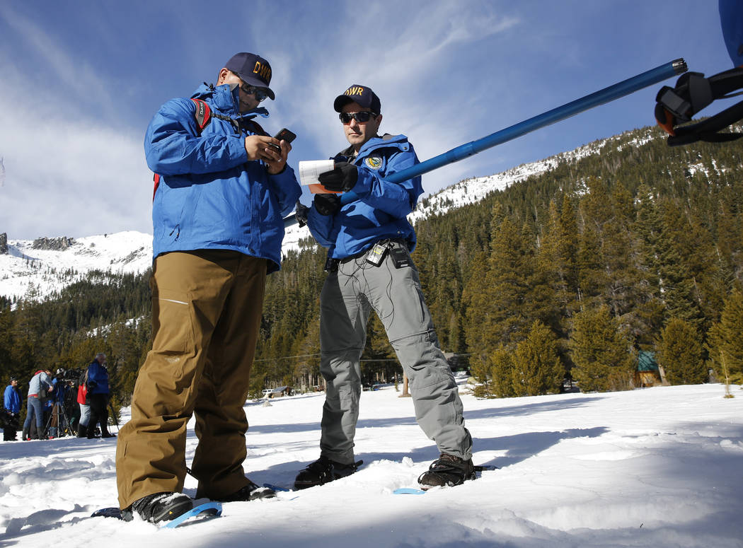 Department of Water Resources Water Resource Engineer John King, right, and fellow water resource engineer Sean De Guzman, left, go over the snow pack number during the first snow survey of the se ...