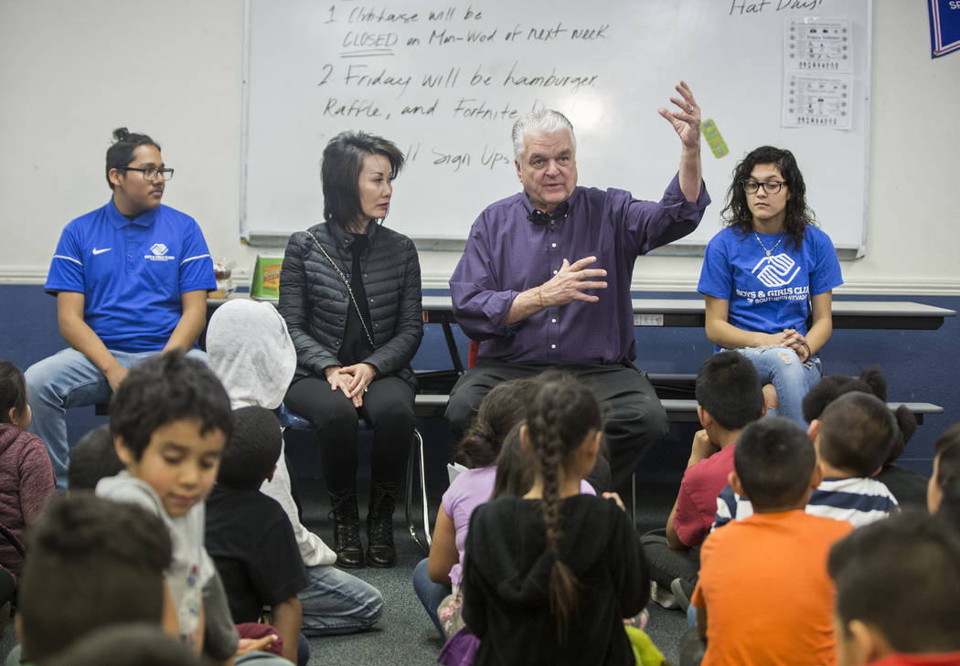 Boys & Girls Clubs ambassador Jose De Dios, left, Kathy Sisolak, governor-elect Steve Sisolak and Boys & Girls Clubs ambassador Natalia Ostorga answer questions during a visit to the Boys ...
