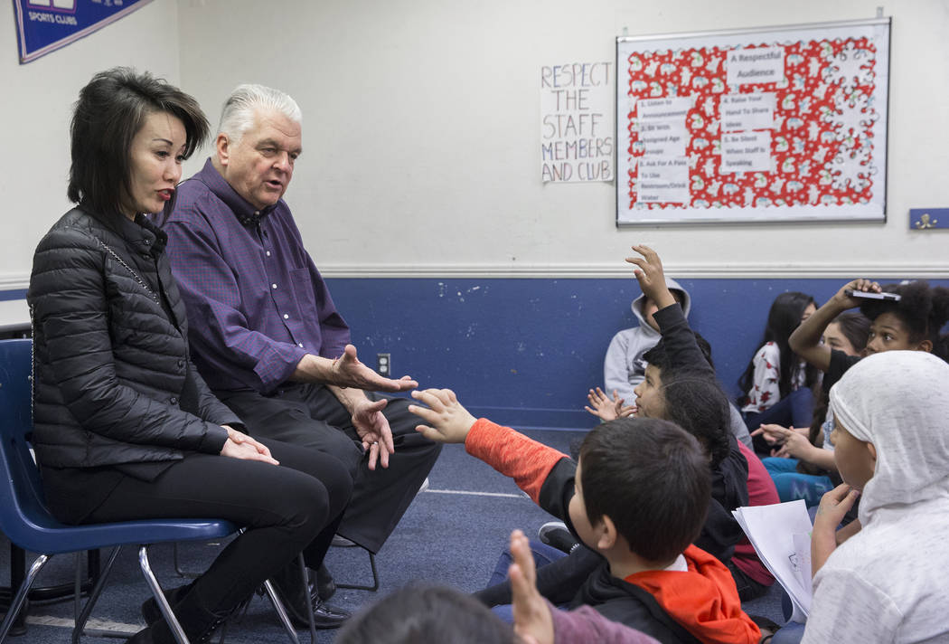 Kathy Sisolak, left, and governor-elect Steve Sisolak answer questions during a visit to the Boys & Girls Clubs of Southern Nevada on Thursday, Jan. 3, 2019, in Las Vegas. Benjamin Hager Las V ...