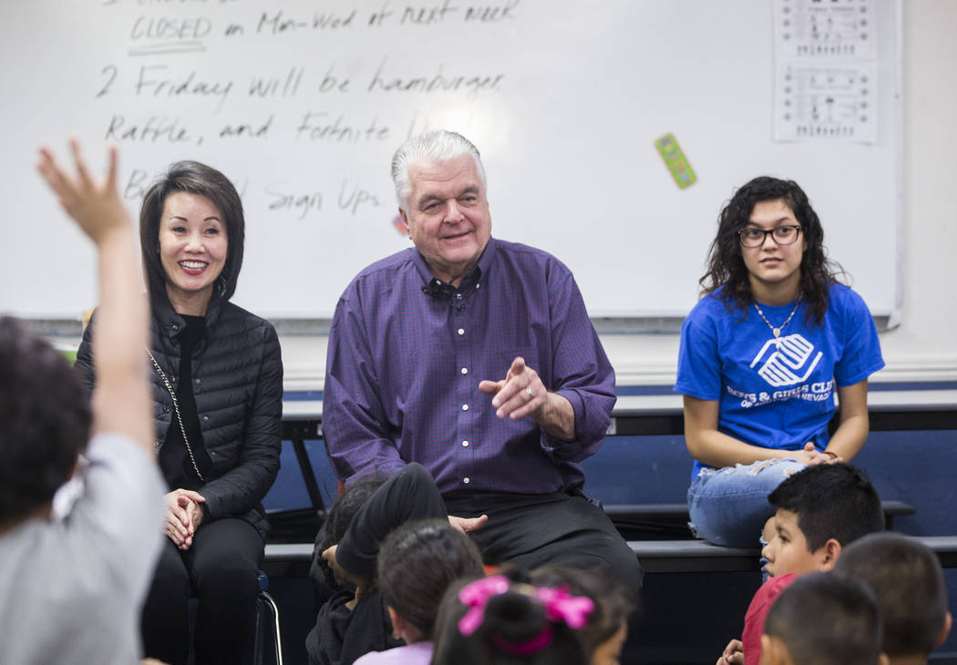 Kathy Sisolak, left, governor-elect Steve Sisolak and Boys & Girls Clubs ambassador Natalia Ostorga answer questions during a visit to the Boys & Girls Clubs of Southern Nevada on Thursday ...