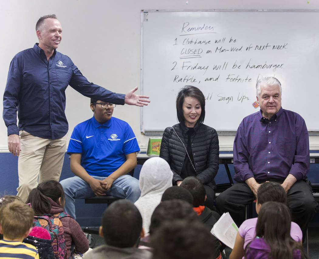 Boys & Girls Clubs CEO Andy Bischel, left, introduces governor-elect Steve Sisolak and wife Kathy Sisolak during a visit to the Boys & Girls Clubs of Southern Nevada on Thursday, Jan. 3, 2 ...