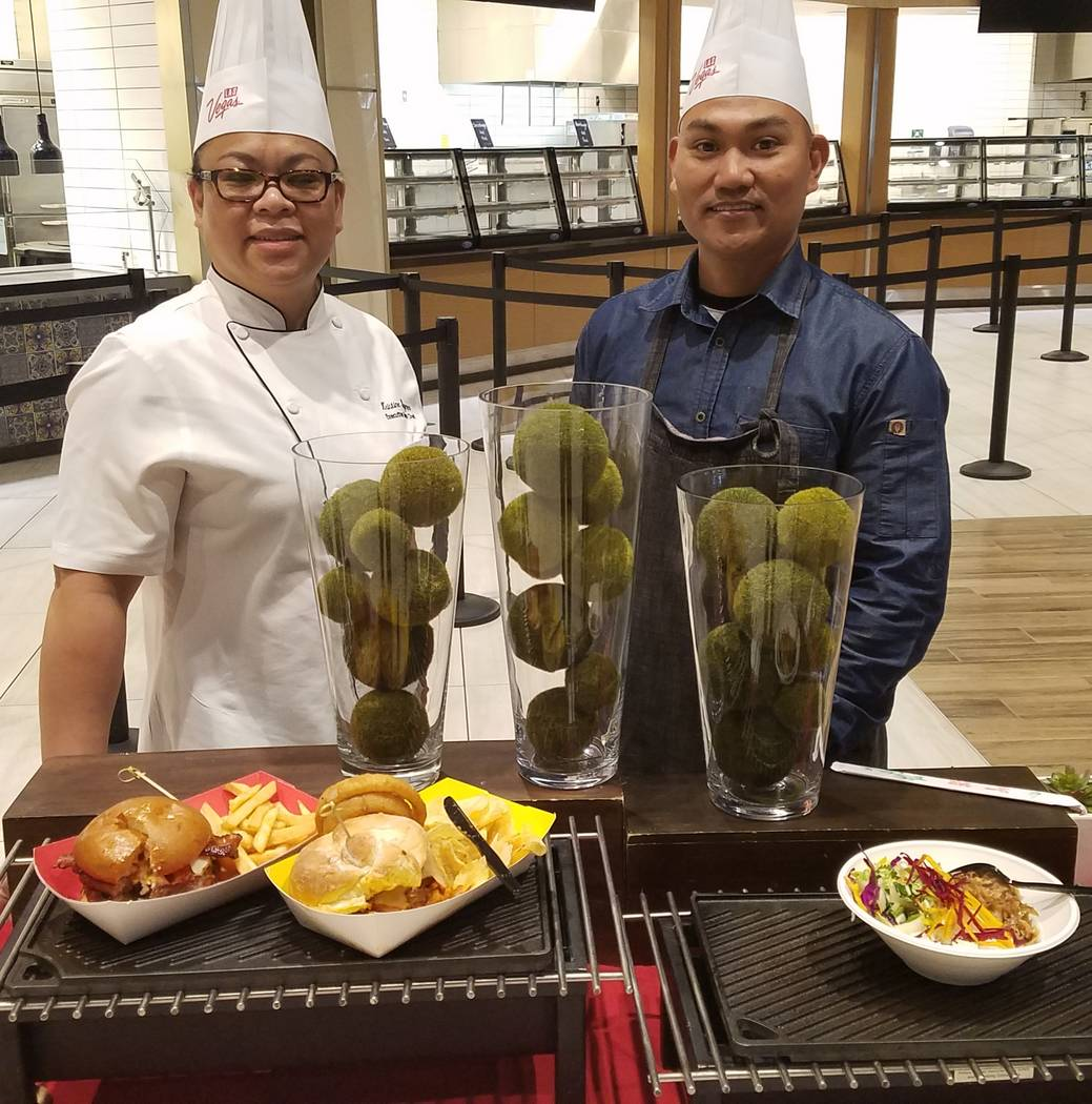 Centerplate executive chef Kristine Waymer and executive sous chef Ronnie Simon show off some of their new menu creations for this year's CES attendees on Dec. 20, 2018, at Aces, one of the Las Ve ...
