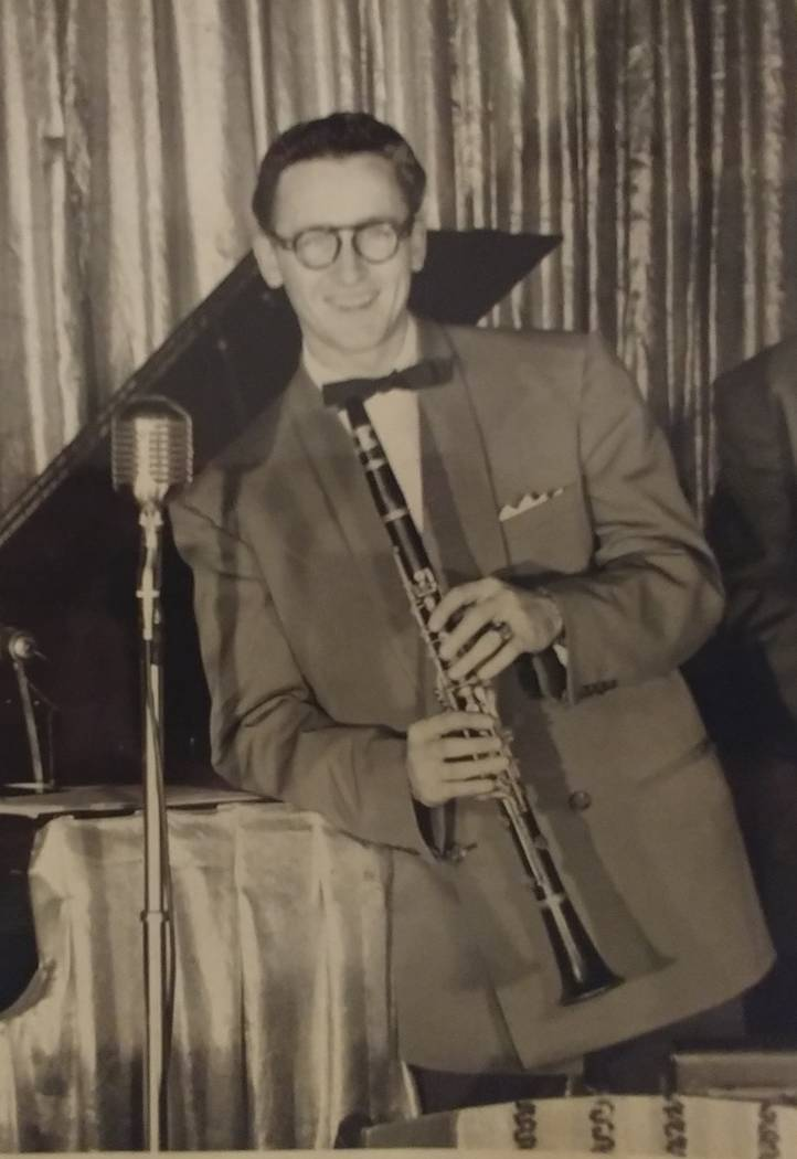 "William Austin ""Autie"" Goodman, shown during a stint as a clarinet player in a three-piece band circa 1951."