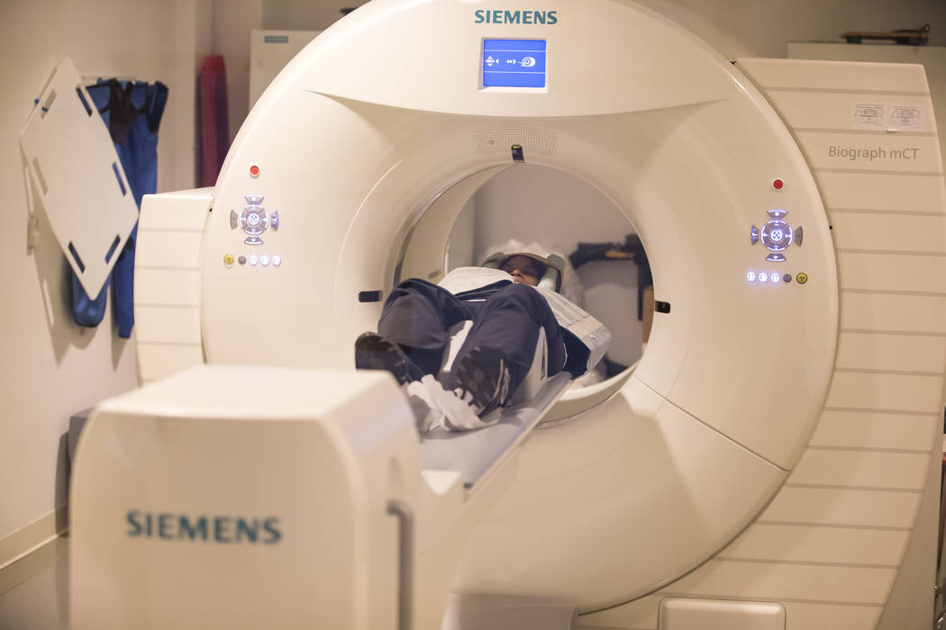 Summerlin resident Pam Shields lies in a PET/CT machine during a GE 180 scan at the Cleveland Clinic - Lou Ruvo Center for Brain Health in downtown Las Vegas on Thursday, Jan. 3, 2019. Richard Bri ...