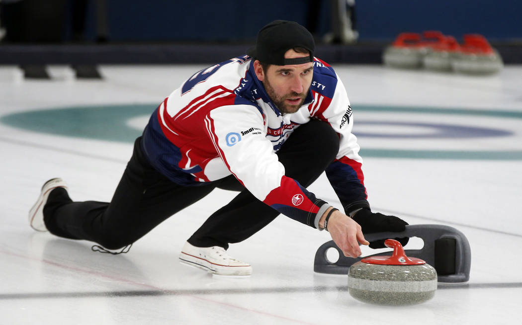 In this Jan. 3, 2019 photo, former Minnesota Vikings football player Jared Allen practices with his curling team for a competition in Blaine, Minn. Allen retired from the NFL in 2015 and wasn't re ...