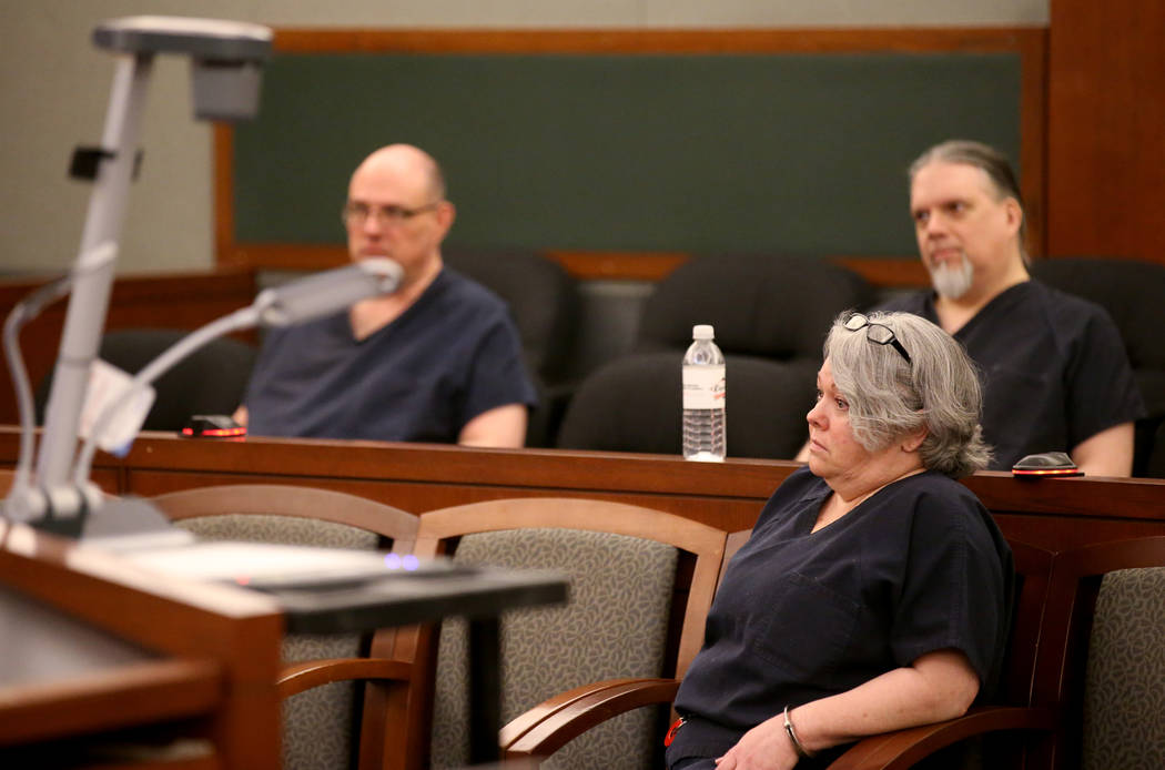 Former Nevada guardian April Parks waits for her sentencing at the Regional Justice Center in Las Vegas Friday, Jan. 4, 2019, after pleading guilty to exploitation, theft and perjury charges Novem ...