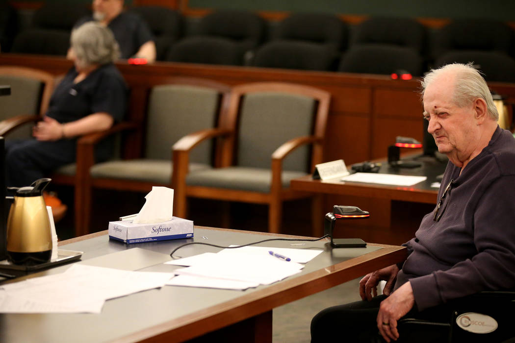 Former Nevada guardian April Parks talks hides her face as Herman Mesloh a victim statement during Parks' sentencing at the Regional Justice Center in Las Vegas Friday, Jan. 4, 2019. K.M. Cannon L ...