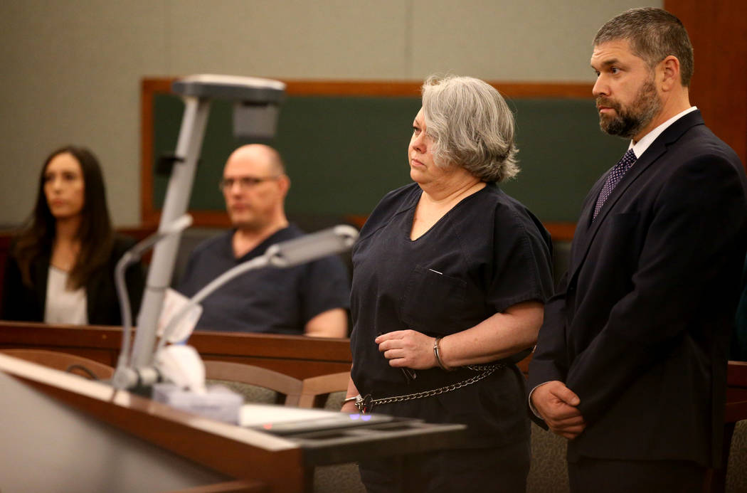 Former Nevada guardian April Parks stand with her attorney Anthony Goldstein at her sentencing at the Regional Justice Center in Las Vegas Friday, Jan. 4, 2019. K.M. Cannon Las Vegas Review-Journa ...