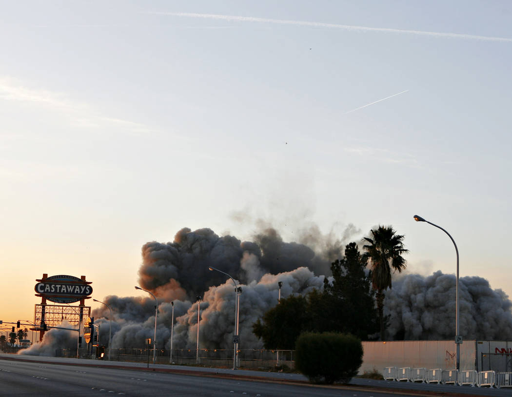 The Castaways Hotel and Casino is imploded in Las Vegas on Wednesday, January 11, 2006. (Isaac Brekken/Las Vegas Review-Journal)