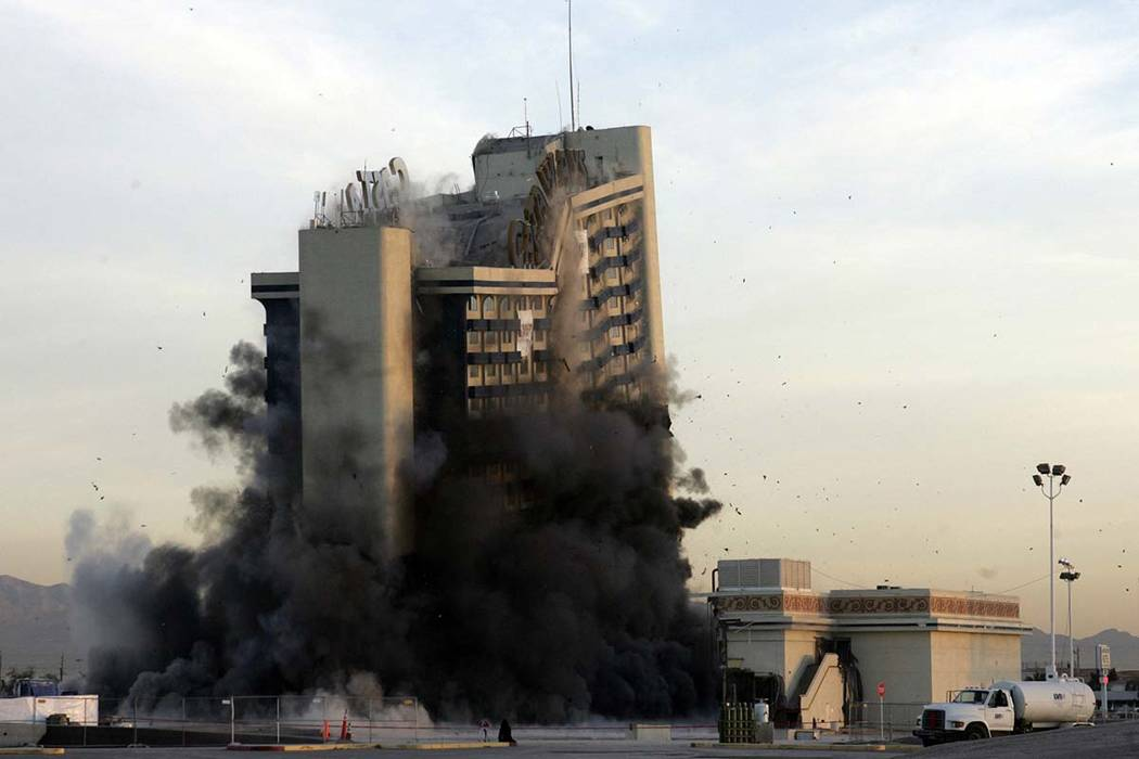The hotel tower of the Castaways Hotel and Casino crashes to the ground as it is imploded on Wednesday, Jan. 11, 2006, in Las Vegas. (Gary Thompson/Las Vegas Review-Journal)