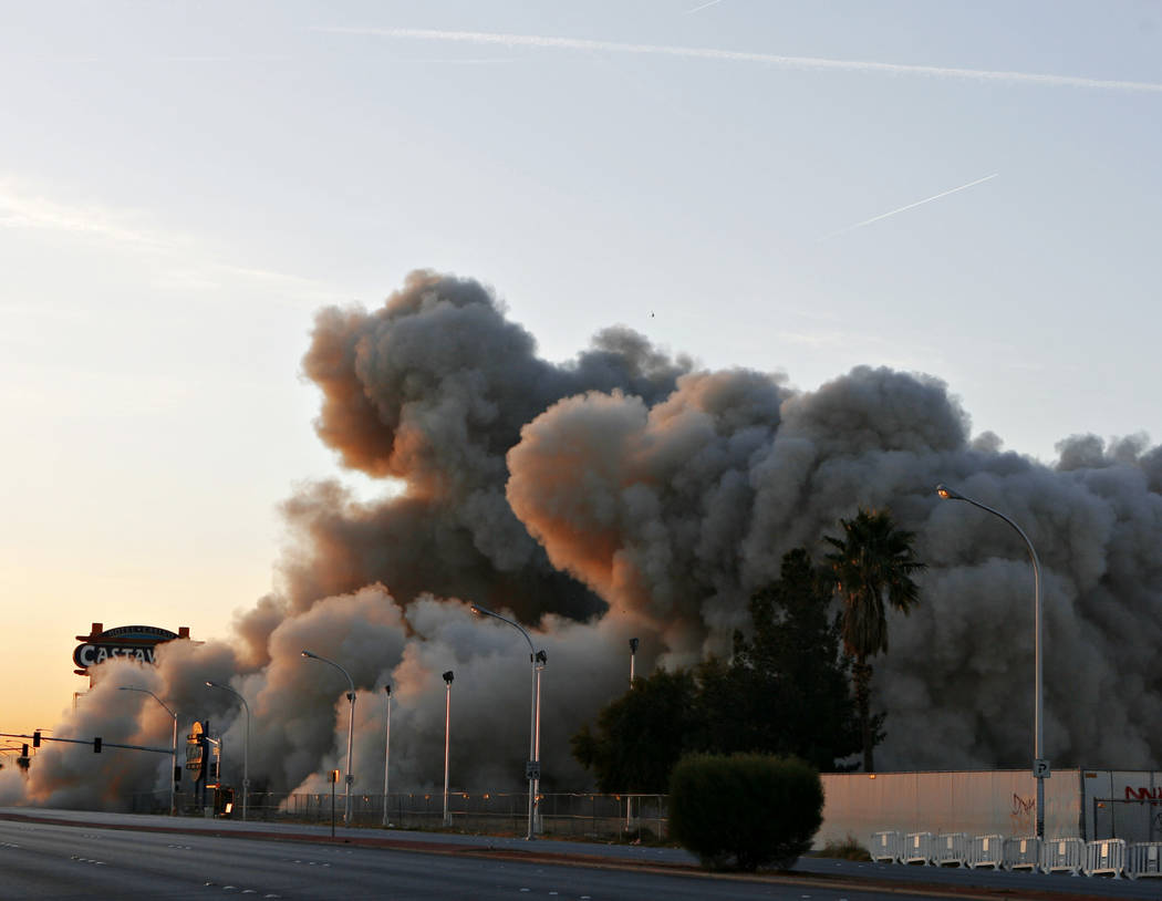 The Castaways hotel and casino is imploded in Las Vegas on Wednesday January 11, 2006. (Isaac Brekken/Las Vegas Review-Journal)