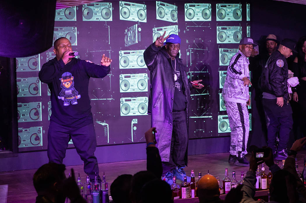"""Flavor Flav performs with Naughty By Nature at """"OTR Wednesdays,"""" On The Record's industry night launch party, on Wednesday, Jan. 2, 2019. (Tony Tran)"""