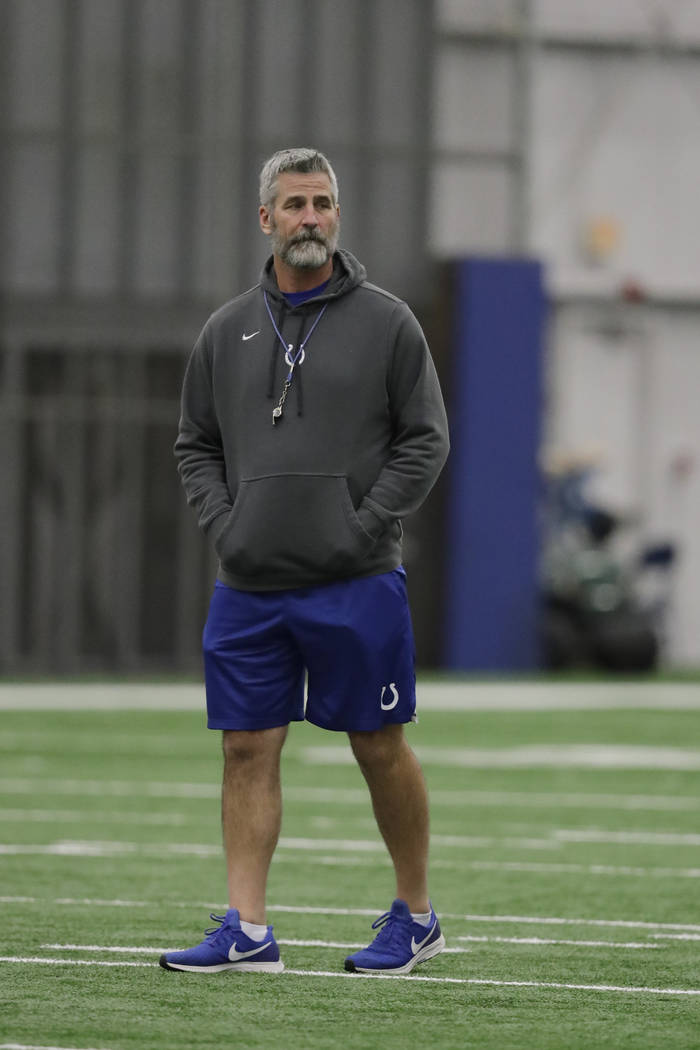 Indianapolis Colts head coach Frank Reich watches during practice at the NFL team's facility, Wednesday, Jan. 2, 2019, in Indianapolis. The Colts will play the Houston Texans in an NFL wildcard pl ...