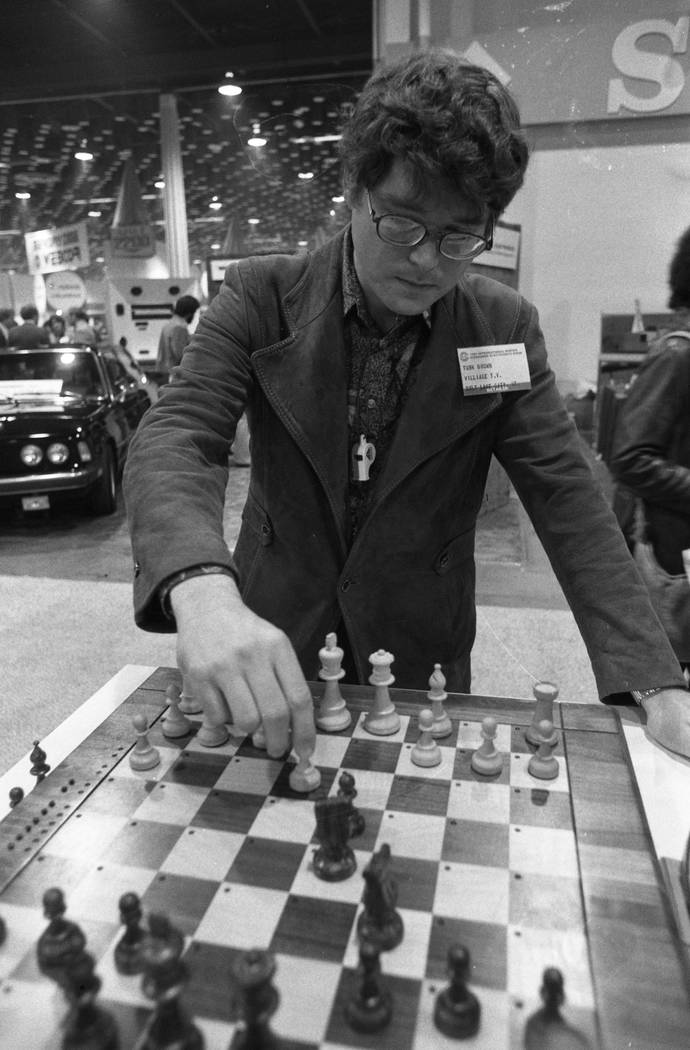 Turk Brown of Salt Lake City plays a computer chess game at the Consumer Electronics Show in 1980 at the Las Vegas Convention Center. (Scott Henry/Las Vegas Review-Journal)