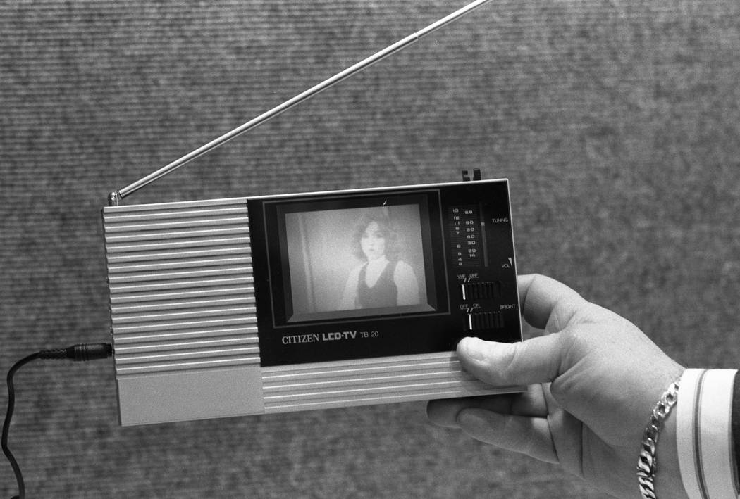 A personal TV — a Citizen LCD-TV TB 20 — is on display at the 1987 CES show at the Las Vegas Convention Center. (Jim Laurie/Las Vegas Review-Journal)