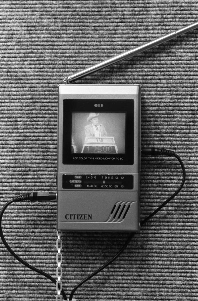 A portable Citizen LCD Color Television and Video Monitor TC 50 is displayed at the 1987 CES show at the Las Vegas Convention Center. (Jim Laurie/Las Vegas Review-Journal)