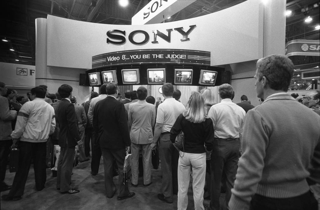 """Sony's booth at the 1987 CES show proclaims, """"Video 8 ... You Be the Judge"""" at the Las Vegas Convention Center. (Jim Laurie/Las Vegas Review-Journal)"""
